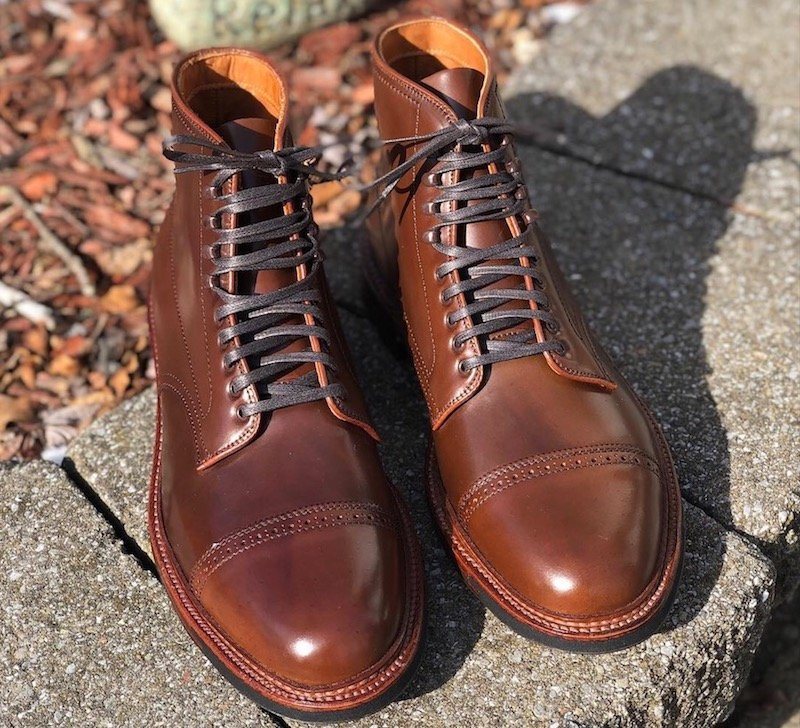 Alden Perforated Captoe boot in Ravello Shell Cordovan