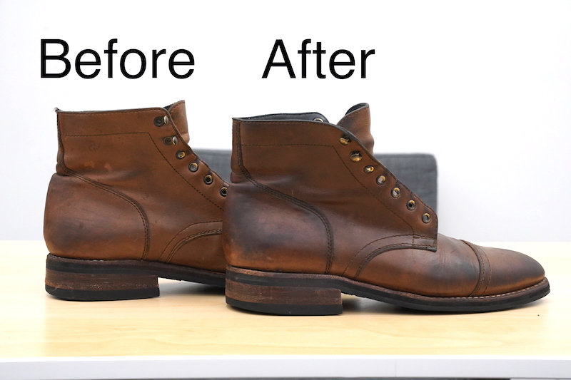 huberds shoe grease before after side