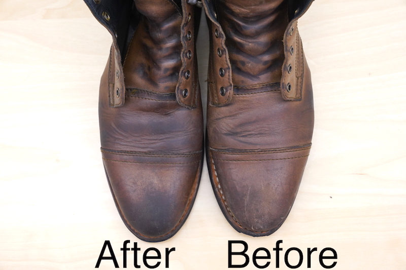 huberds shoe grease before and after
