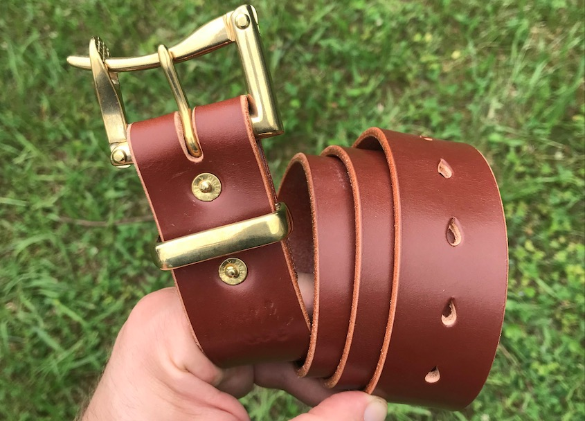 Hazel Sedgwick single prong belt w: brass buckle, brass keeper, brass prong, brass rivets
