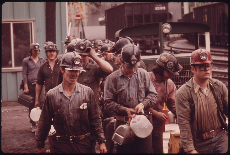 miners wearing denim
