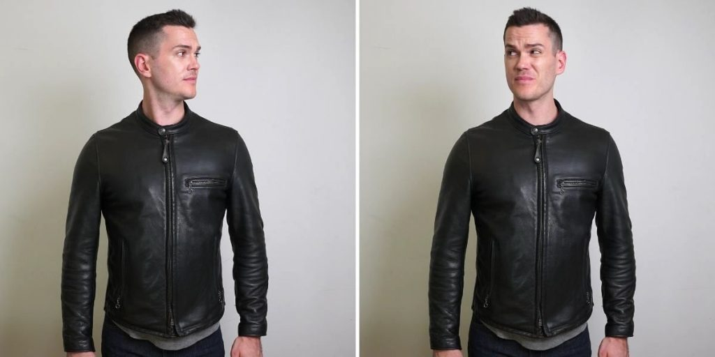 schott cafe racer leather jacket front view