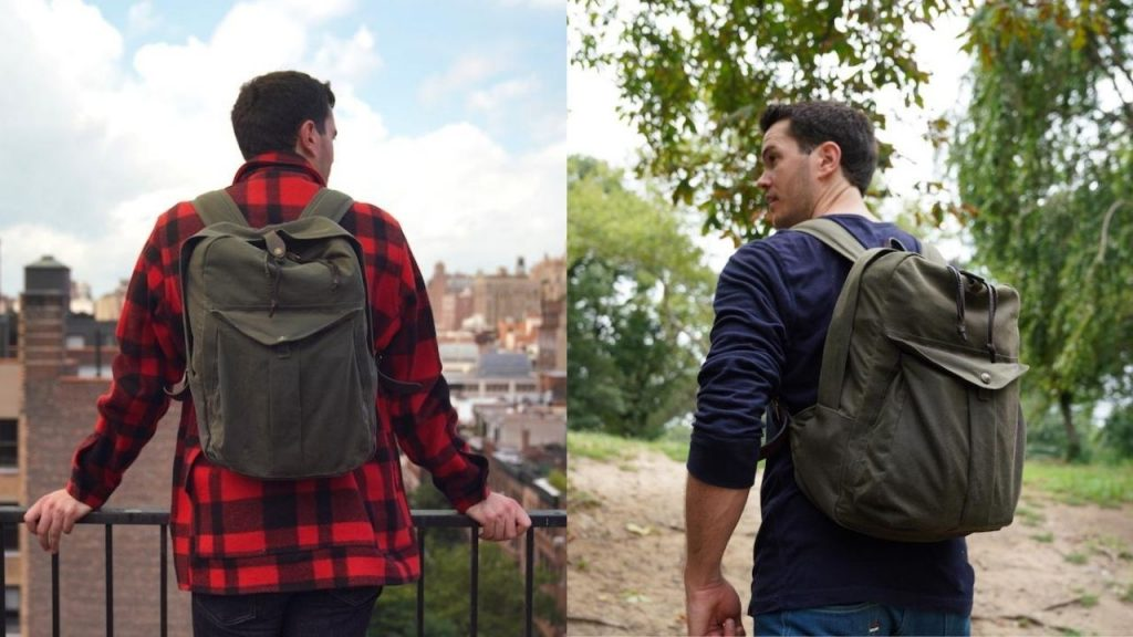 filson journeyman with mackinaw cruiser and blue henley