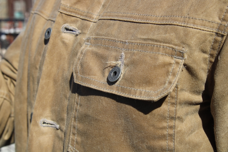 Flint and Tinder Flannel-Lined Waxed Trucker Jacket pocket
