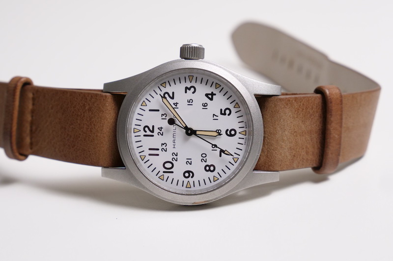 hamilton khaki field watch on side
