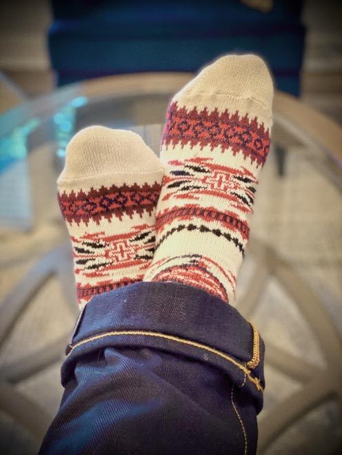 chup socks dreamcatcher on feet