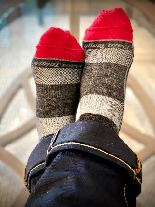 darn tough athletic sock on feet