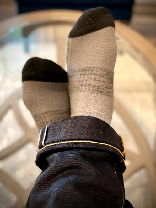 hylete mid calf athletic sock on feet