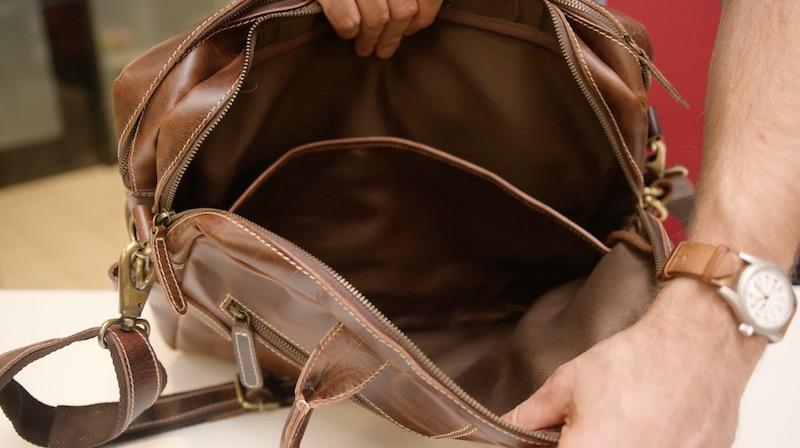 kodiak leather pilot bag interior