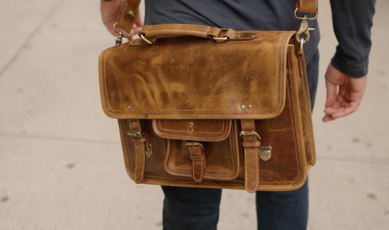 kodiak leather satchel on body