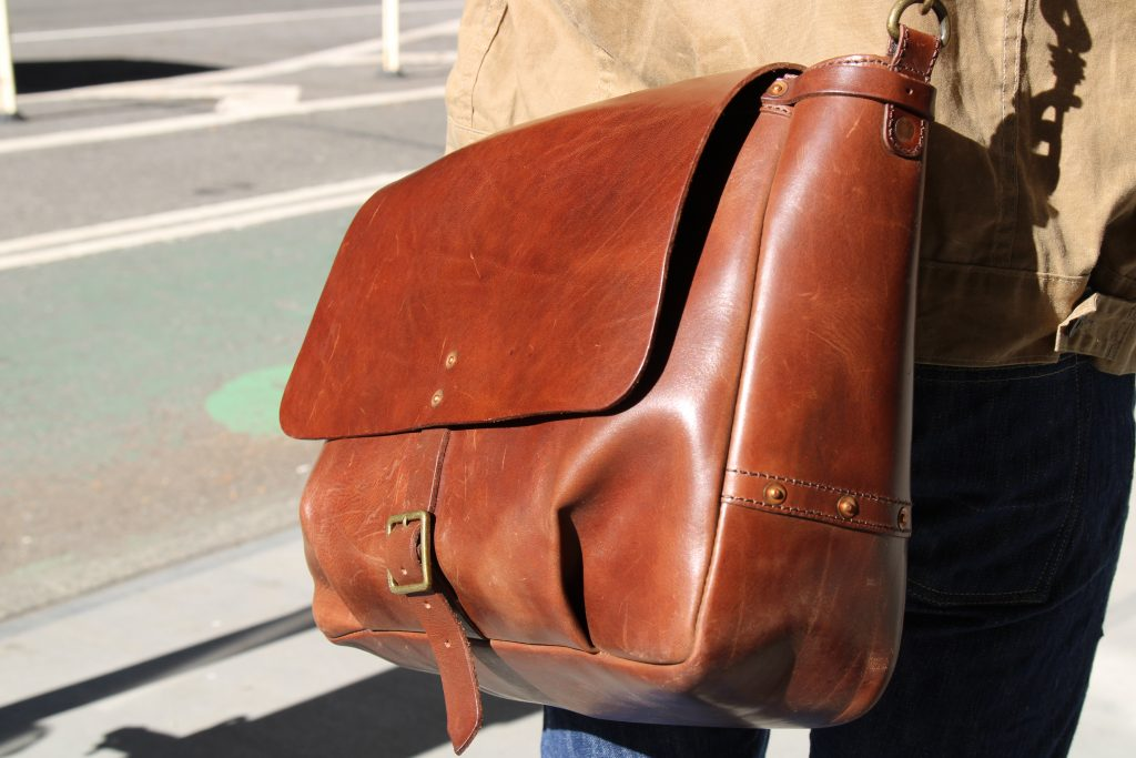 satchel and page mailbag leather
