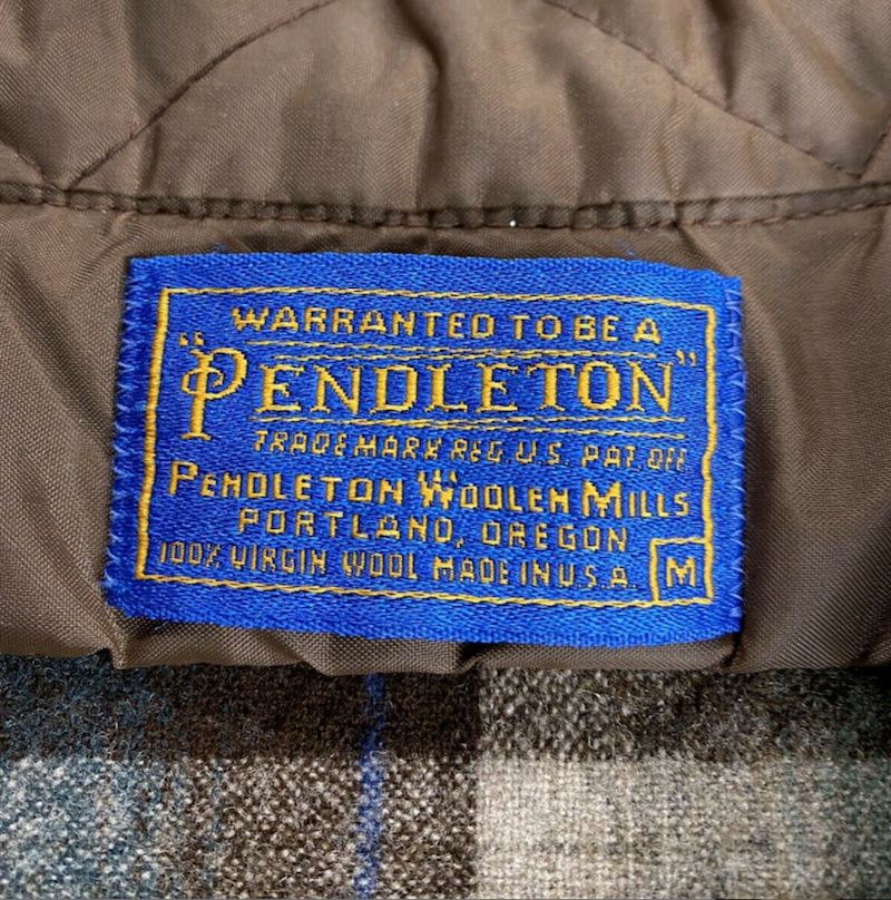 A Pendleton label from the 1950s to 60s