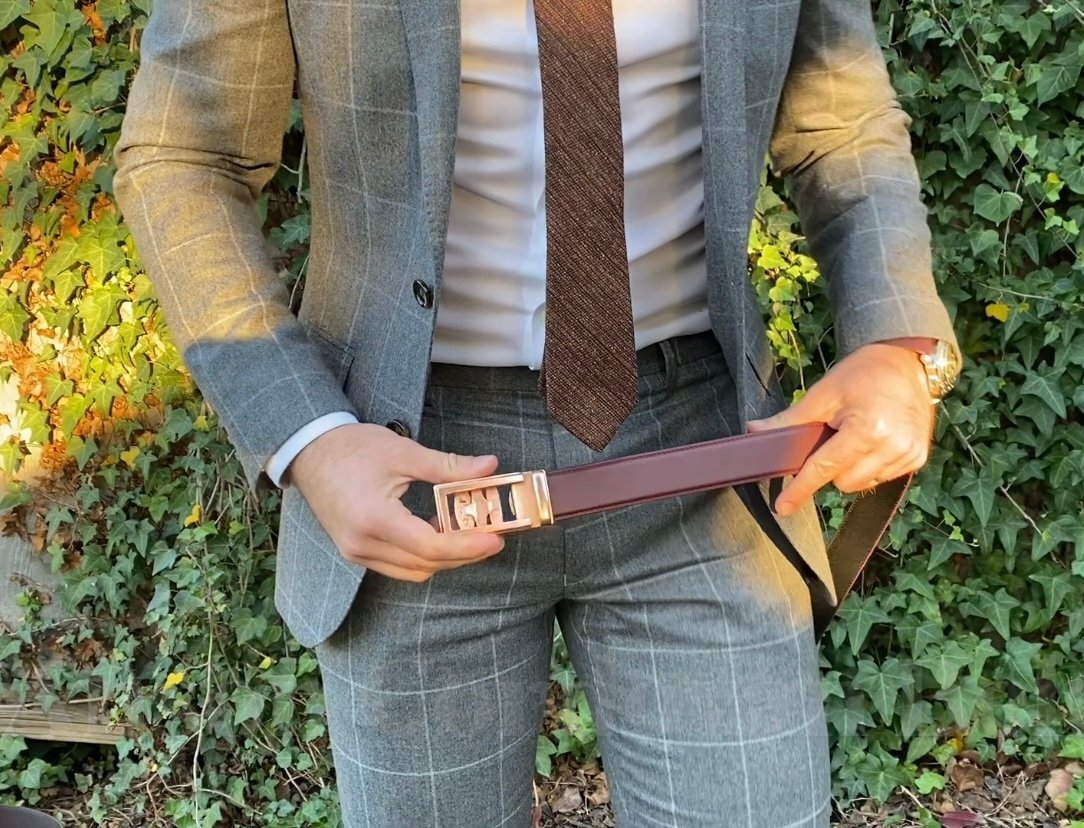 Anson cordovan belt with a suit