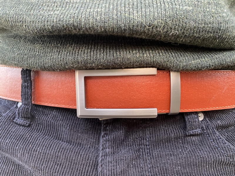 Anson saddle tan veg belt closeup