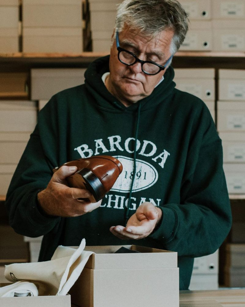 Rand Gilmore Inspecting Grant Stone Shoes