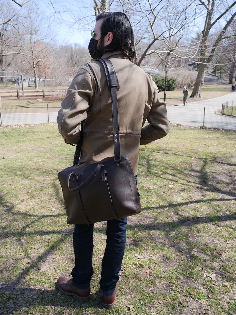 cravar leather briefcase in use