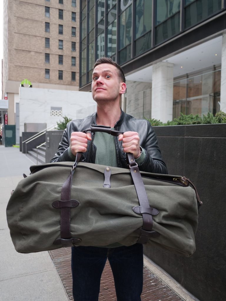 Nick showing his love for the FIlson Duffle