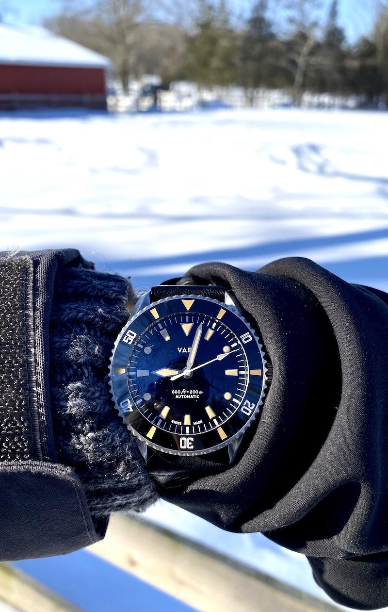vaer d7 arctic swiss diver watch snow