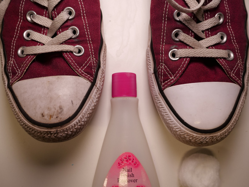 Chuck Taylors Cleaned with Nail Polish