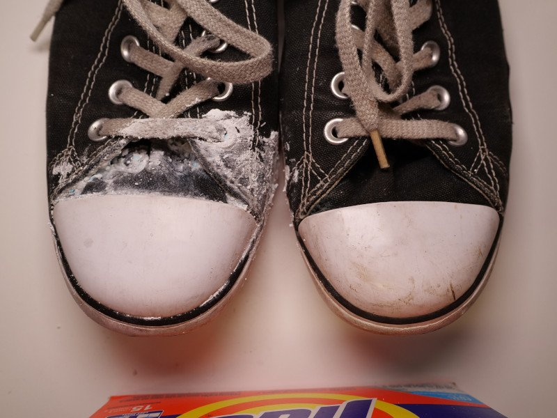Clean chuck Taylors with laundry detergent
