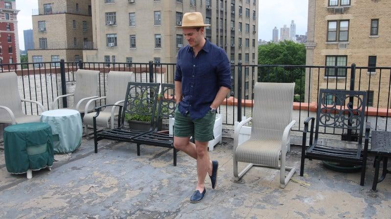 Alex Crane Linen Shorts and Sabah Slippers