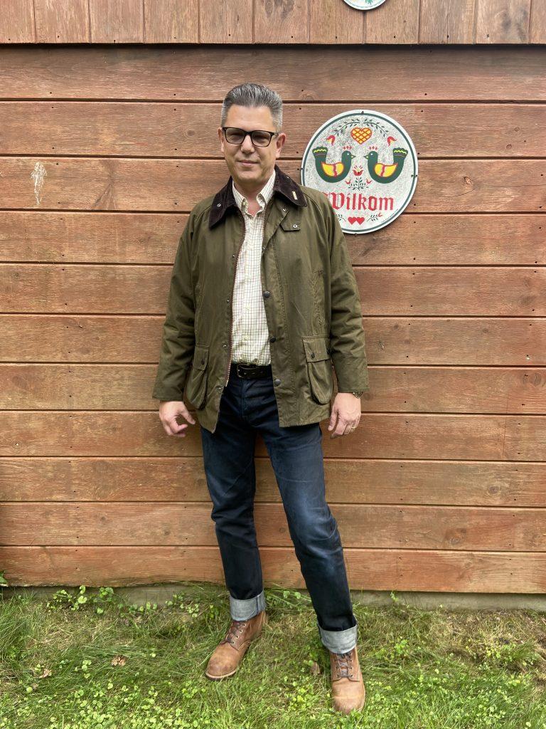 barbour bedale jacket modeling