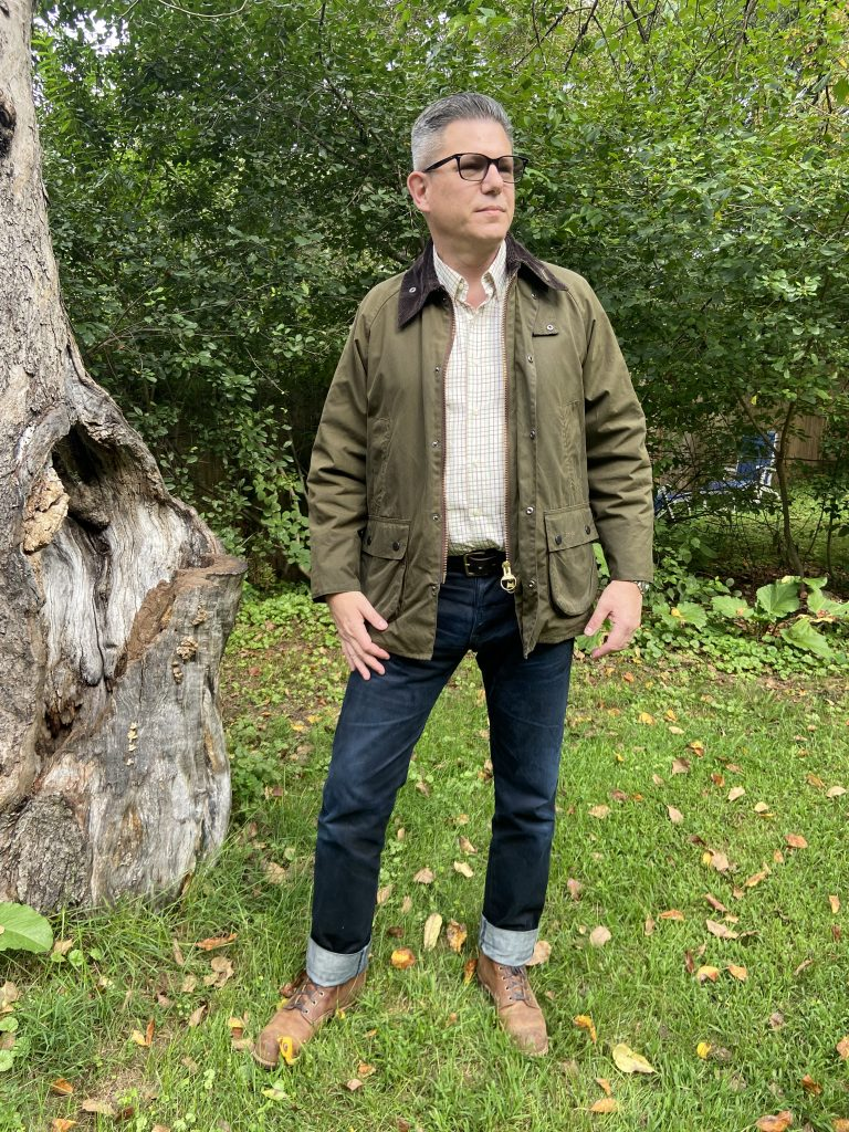 barbour bedale jacket outside