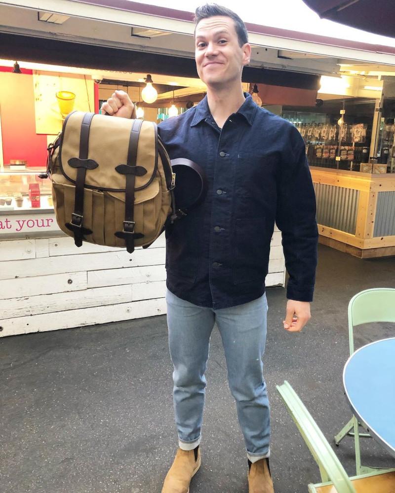 Nick holding the Filson Rucksack