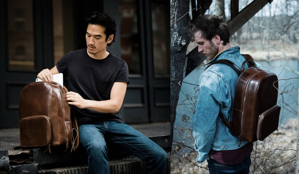 satchel and page backpack leather